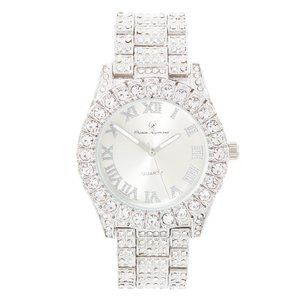 Bling-ed Out Round Watch ST10327Roman Silver/Silve